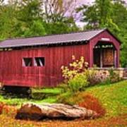 Pennsylvania Country Roads - Everhart Covered Bridge At Fort Hunter - Harrisburg Dauphin County Art Print