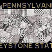 Pennsylvania Map Black Art Print