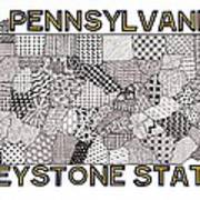 Pennsylvania Map White Art Print