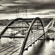 Pennybacker Bridge Bw Art Print