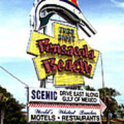 Pensacola Beach Sign Art Print