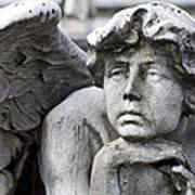 Pensive Angel Detail Monumental Cemetery Milan Italy Art Print