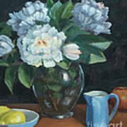 Peonies In Glass Vase Art Print