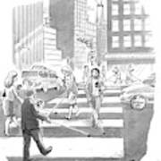 People Are Crossing The Street Looking Art Print