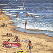 people on Bournemouth beach Blue Sea Art Print