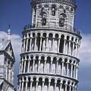 People On Top Of Leaning Tower Of Pisa Art Print