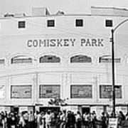 People Outside A Baseball Park, Old Art Print