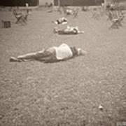 People Sleeping In The Park Art Print by Beverly Brown