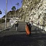 People Walking On The Path Leading To Shrine Of Vaishno Devi Art Print