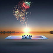 People Watching Fireworks Erupt From Art Print