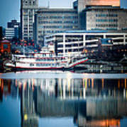 Peoria Illinois Cityscape And Riverboat Art Print