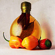 Peppers And Oil Art Print