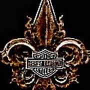 Perforated Brown Fleurs De Lys With Harley Davidson Logo  Art Print