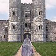 Period Lady In Front Of A Castle Art Print