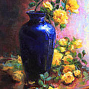 Persian Cobalt - Yellow Roses In Cobalt Vase Art Print