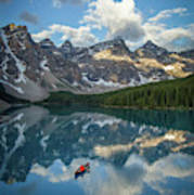 Person In Canoe On Moraine Lake, Banff Art Print