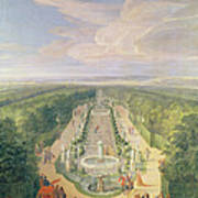Perspective View Of The Grove From The Galerie Des Antiques At Versailles, 1688 Oil On Canvas Art Print