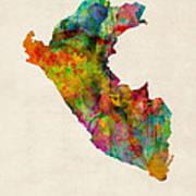 Peru Watercolor Map Art Print