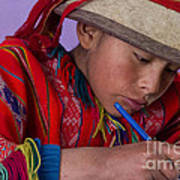 Peru Writing Lesson In Huilloc Primary School Peru Art Print