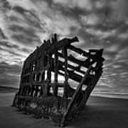 Peter Iredale Shipwreck Black And White Art Print