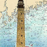 Petit Manan Island Lighthouse Me Nautical Chart Map Art Art Print