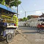 Petrol Stall And Cyclo Taxi In Solo City Indonesia Art Print