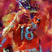 Peyton Manning Abstract 3 Art Print by David G Paul