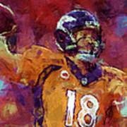 Peyton Manning Abstract 5 Art Print by David G Paul