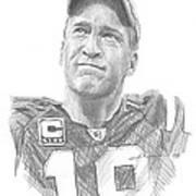 Peyton Manning Colts Farewell Pencil Portrait Art Print