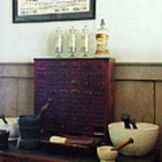 Pharmacist - Desk With Mortar And Pestles Art Print
