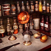 Pharmacy - Items From The Specialist Art Print by Mike Savad