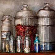 Pharmacy - Mysterious Pebbles Powders And Liquids Art Print