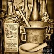 Pharmacy - Snake Oil -  Black And White Art Print