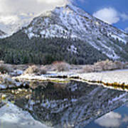 Phi Kappa Mountain Reflected In River Art Print