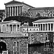 Philadelphia Art Museum At The Water Works In Black And White Art Print