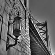 Philadelphia Benjamin Franklin Bridge 2 Bw Art Print