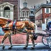 Philadelphia Carpenter's Hall Front View And Horse Art Print