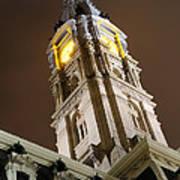 Philadelphia City Hall Clock Tower At Night Print by Gary Whitton