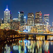 Philadelphia Cityscape Panorama By Night Art Print