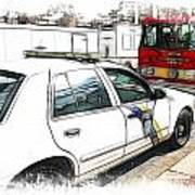 Philadelphia Police Car Art Print by Fiona Messenger