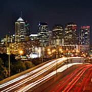 Philadelphia Skyline At Night In Color Car Light Trails Art Print