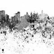 Philadelphia Skyline In Black Watercolor On White Background Art Print