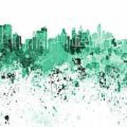 Philadelphia Skyline In Green Watercolor On White Background Art Print