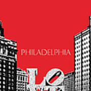 Philadelphia Skyline Love Park - Red Print by DB Artist