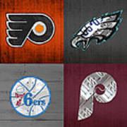 Philadelphia Sports Fan Recycled Vintage Pennsylvania License Plate Art Flyers Eagles 76ers Phillies Art Print