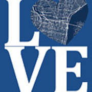 Philadelphia Street Map Love - Philadelphia Pennsylvania Texas R Art Print