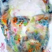 Philip K. Dick Watercolor Portrait.2 Art Print