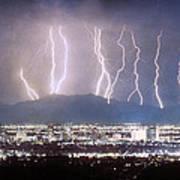 Phoenix Arizona City Lightning And Lights Art Print by James BO  Insogna