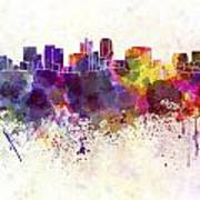Phoenix Skyline In Watercolor Background Art Print
