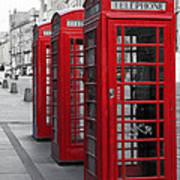 Phone Boxes On The Royal Mile Art Print